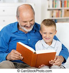 sien, lecture, petit-fils, grand-père