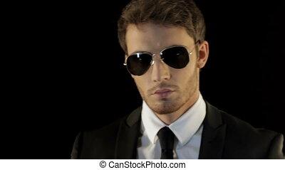 sien, lunettes soleil, aimer, sur, agent, regarde, spécial, homme