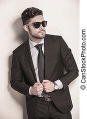 sien, lunettes soleil, business, tenue, complet, sexy, homme