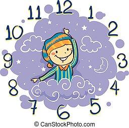 sien, main horloge, heure coucher, utilisation, bras, gosse