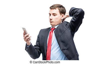 sien, main, téléphone, fond, homme affaires, portrait, blanc, surpris
