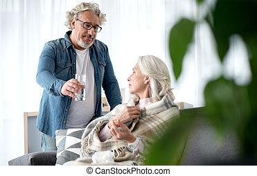 sien, malade, portion, personne agee, époux, mari