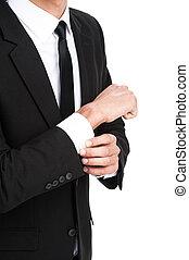 sien, manche, sleeve., ajustement, détail, jeune, toucher, closeup, fond, homme affaires, blanc, sur