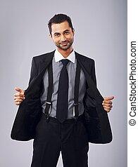 sien, manteau, jeune, gai, tenue, professionnel, ouvert