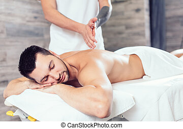 sien, masseur, haut, masage, mains, chauffage, avant
