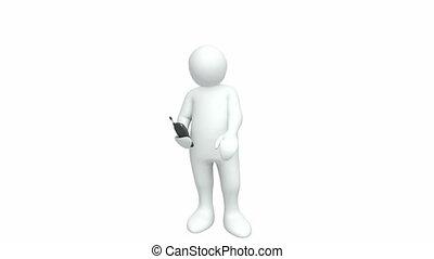 sien, mobile, 3d-man, téléphone, utilisation