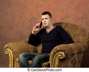 sien, mobile, intéressé, jeune, conversation, homme