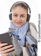 sien, mobile, jeune, téléphoner femme, musique écouter
