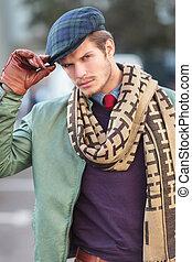 sien, mode, jeune, figure, tenue, chapeau, homme