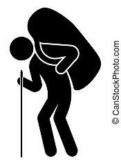 sien, montagne, sac, randonnée, porte, sac à dos, travel., blanc, shoulder., isolé, fond, escalade, grand homme, vecteur, cane., penche