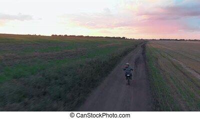 sien, motocross piste, de-route, motocyclette, vue, équitation, aérien, cavalier