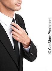 sien, necktie., redresse, ajustement, jeune, détail, homme affaires, closeup, fond, complet, cravate, blanc, sur