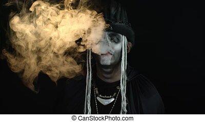 sien, nez, professionnel, fumée, expirer, crâne, maquillage...