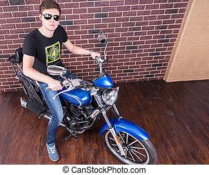 sien, nuances, motocyclette, homme, beau