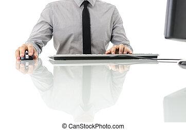 sien, ordinateur gestion, bureau, utilisation, homme