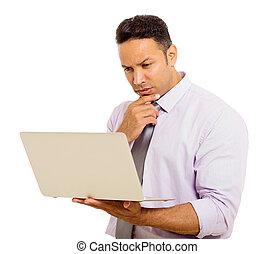 sien, ordinateur portable, mi, email, homme affaires, lecture, âge