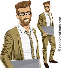 sien, ordinateur portable, vecteur, mains, hipstar, homme