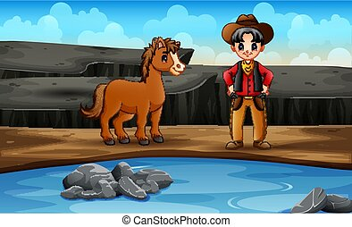 sien, ouest, cow-boy, cheval sauvage, scène