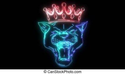 sien, ouvert, panthère, couronne, noir, bouche, vidéo, tête