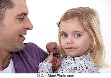 sien, père, étreindre, daughter.