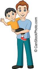sien, père, bras, fils, porter, dessin animé