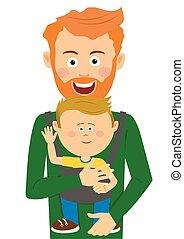 sien, père, jeune, fils, porteur, tenant bébé