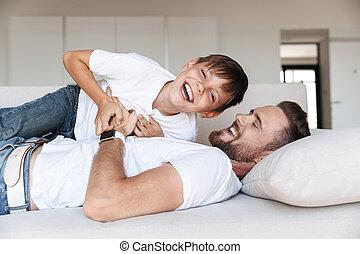 sien, père, jeune, fils, portrait, heureux