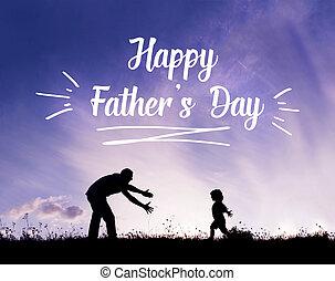 sien, pères, père, bras, fils, outdoors., ouvert, concept., jour