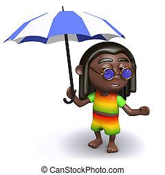 sien, parapluie, rasta, abris, sous, 3d