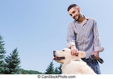 sien, parc, chien, homme