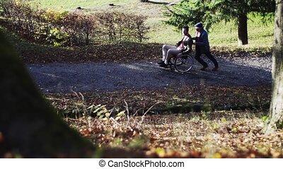 sien, parler., nature, fauteuil roulant, père, fils, personne agee, promenade