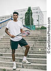 sien, passion., tennis, jeune, sports, confiant, porter, raquette, homme, vêtements