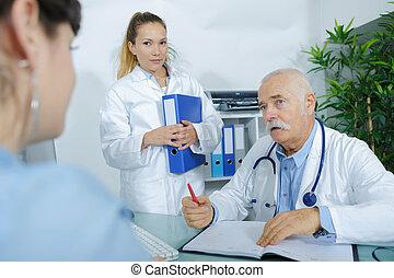 sien, patient, écoute, bureau, docteur