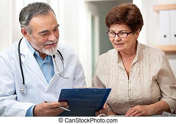 sien, patient, docteur, conversation, femme, personne agee