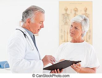sien, patient, docteur, conversation, malade, personne agee