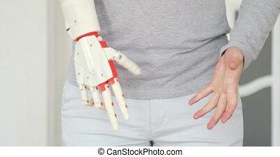 sien, patient, essai, prothétique, main, time., robotique, nouveau, premier