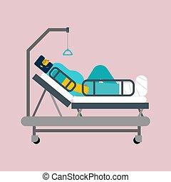 sien, patient, leg., isolated., gypse, lit hôpital, vecteur,...