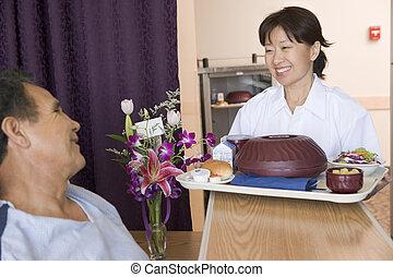 sien, patient, lit, servir, infirmière, repas