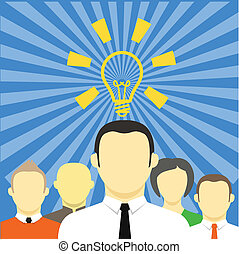 sien, pensée, concept., idée, équipe, homme affaires