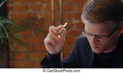 sien, pensée, tordre, solution, stylo, portrait, homme affaires, problème, hands., beau