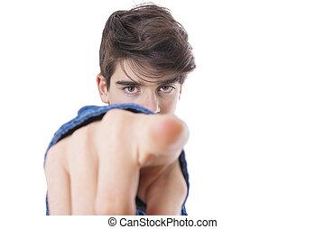 sien, pointage, isolé, jeune, doigt, vide, homme