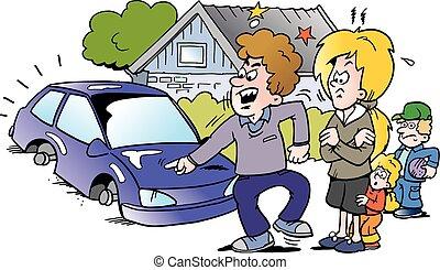 sien, pointage, voiture famille, fâché, illustration, vecteur, auto, nouveau, dessin animé, homme