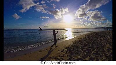 sien, porter, surfeur, tête, 4k, planche surf