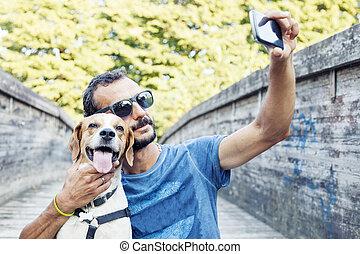 sien, prend, selfie, chien, jeune homme