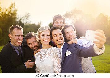 sien, prendre, palefrenier, mariée, amis, selfie