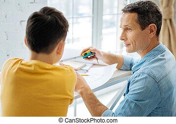 sien, projection, père, jeune, fils, mètre à ruban
