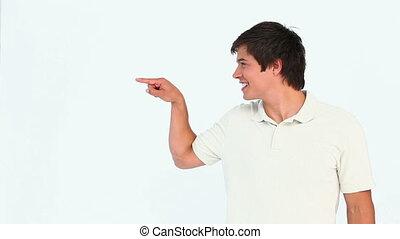 sien, quelque chose, projection, doigt, homme