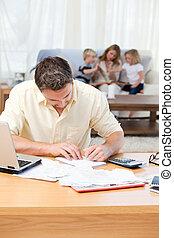 sien, quoique, calculer, sofa, homme, famille, factures
