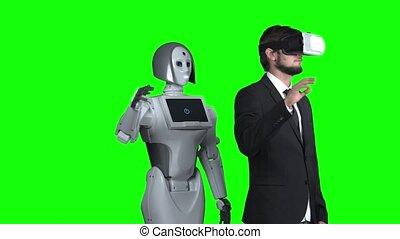 sien, réalité, écran, après, haut, virtuel, robot, him., vert, augmentations, main, vagues, type, répétitions, lunettes
