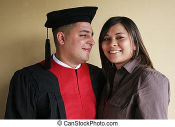 sien, réussi, université, -, remise de diplomes, petite amie, célèbre, heureux